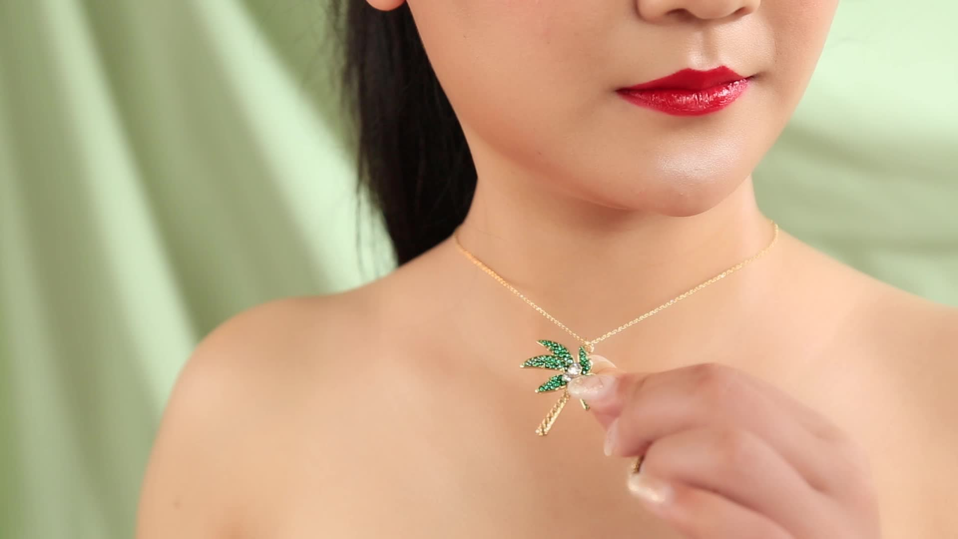 xl02145c Influencer Pink Flamingo Crystal Pineapple Palm Pendants Necklaces Women Handmade Gold Plated Jewelry
