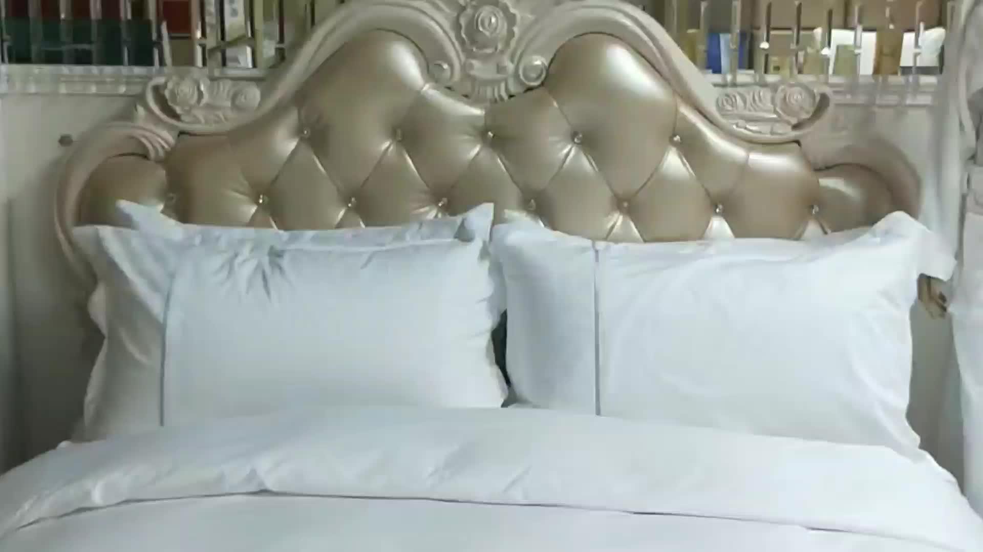 ホテルのベッドシーツ工場卸売現代ホテル白の二重刺繍スーパーキングキルトカバーセット