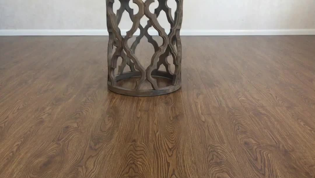Natural reclaimed wood carved accent side quatrefoil end table