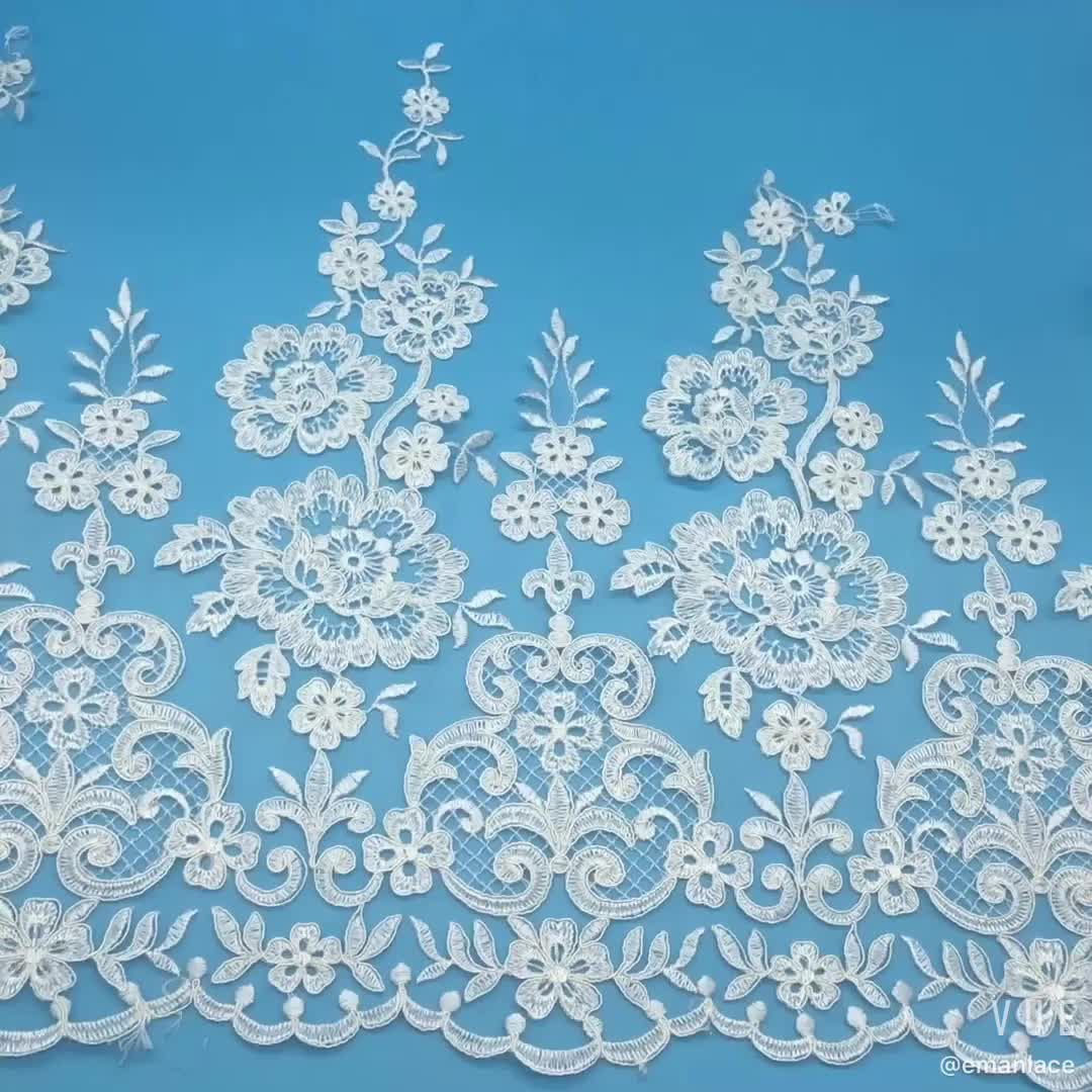 E2766 41cm Tulle Mesh Beaded Lace  Embroidery Fabric Lace Trim For Wedding Dress/ Table Cloth