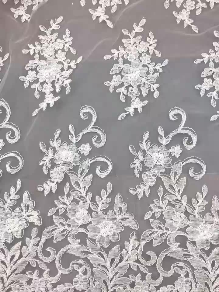 high quality chic sequins embroidered cording African tulle lace fabric French dental pizzo sposa