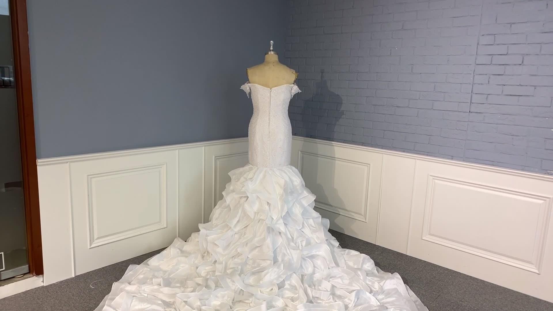 2019 luxe sirène robe de mariée Designers perlée chérie robe de mariée à volants longue Train robes de mariée
