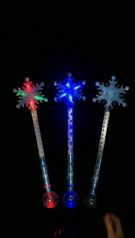 Colorful Christmas Promotional  Gift  For Kids Snowflake Shape LED Stick with RGB Color LED Flashing Snowflake Wand
