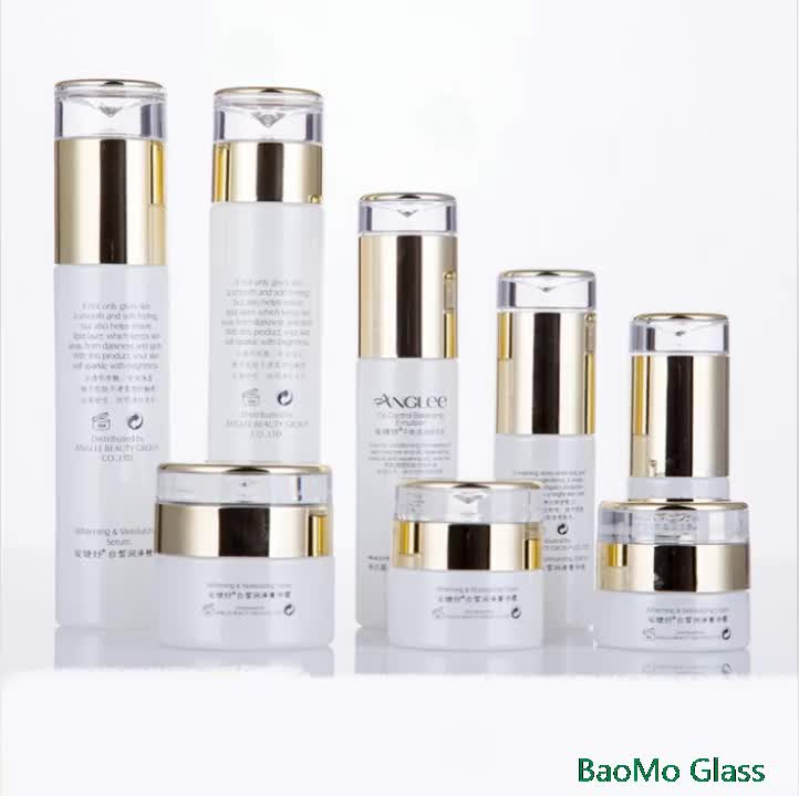 Luxury Cosmetic Glass Packaging 50g 50ml 100ml 120ml Lotion Cosmetic Glass Container with Pump