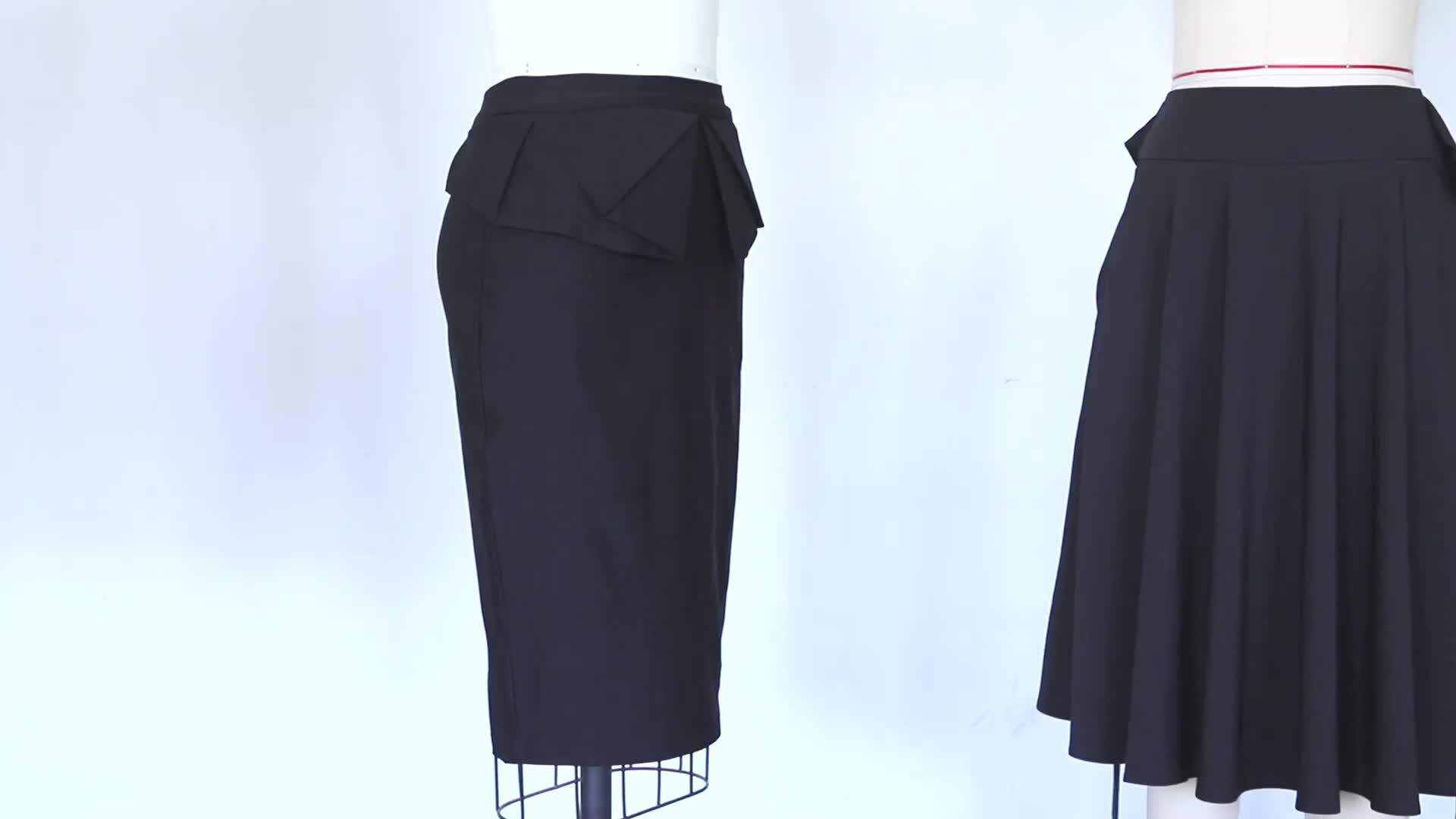Kk001162女性無地非対称ラップフロント伸縮性ボディコンペンシルスカート