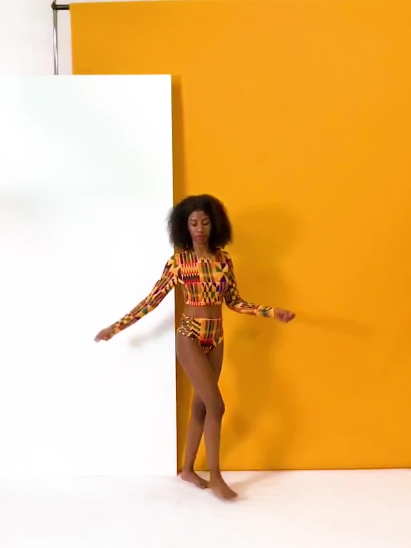 アフリカ風の女性ビキニビーチウェアカスタマイズ二枚セット水着