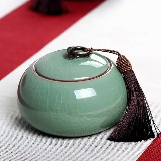 Elegante China de cerámica en forma de calabaza frasco hermético para el té