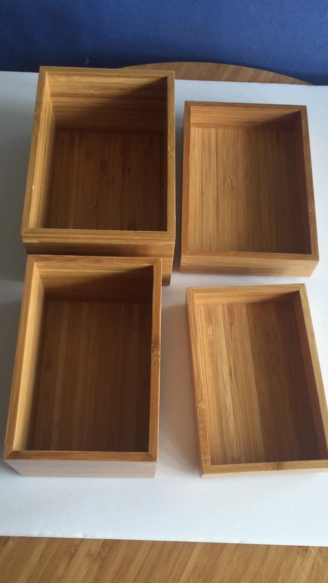 BAMBKIN home 4 pcs desk organizer bsci bamboo desktop storage box