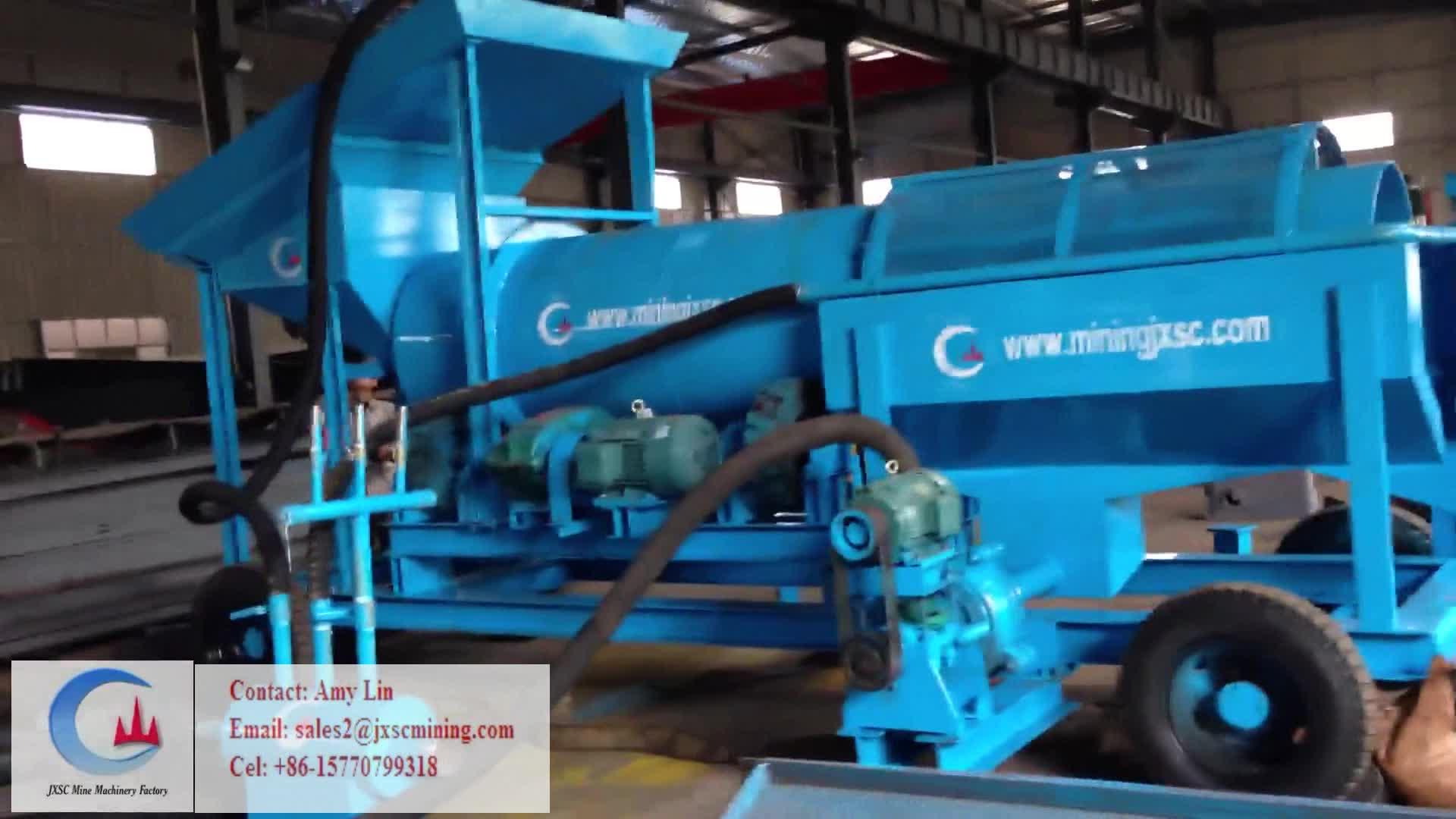 Tragbare Flusssand-mobile Goldwaschanlage Mobile Gold-Trommelwäscher für alluviale Goldförderung