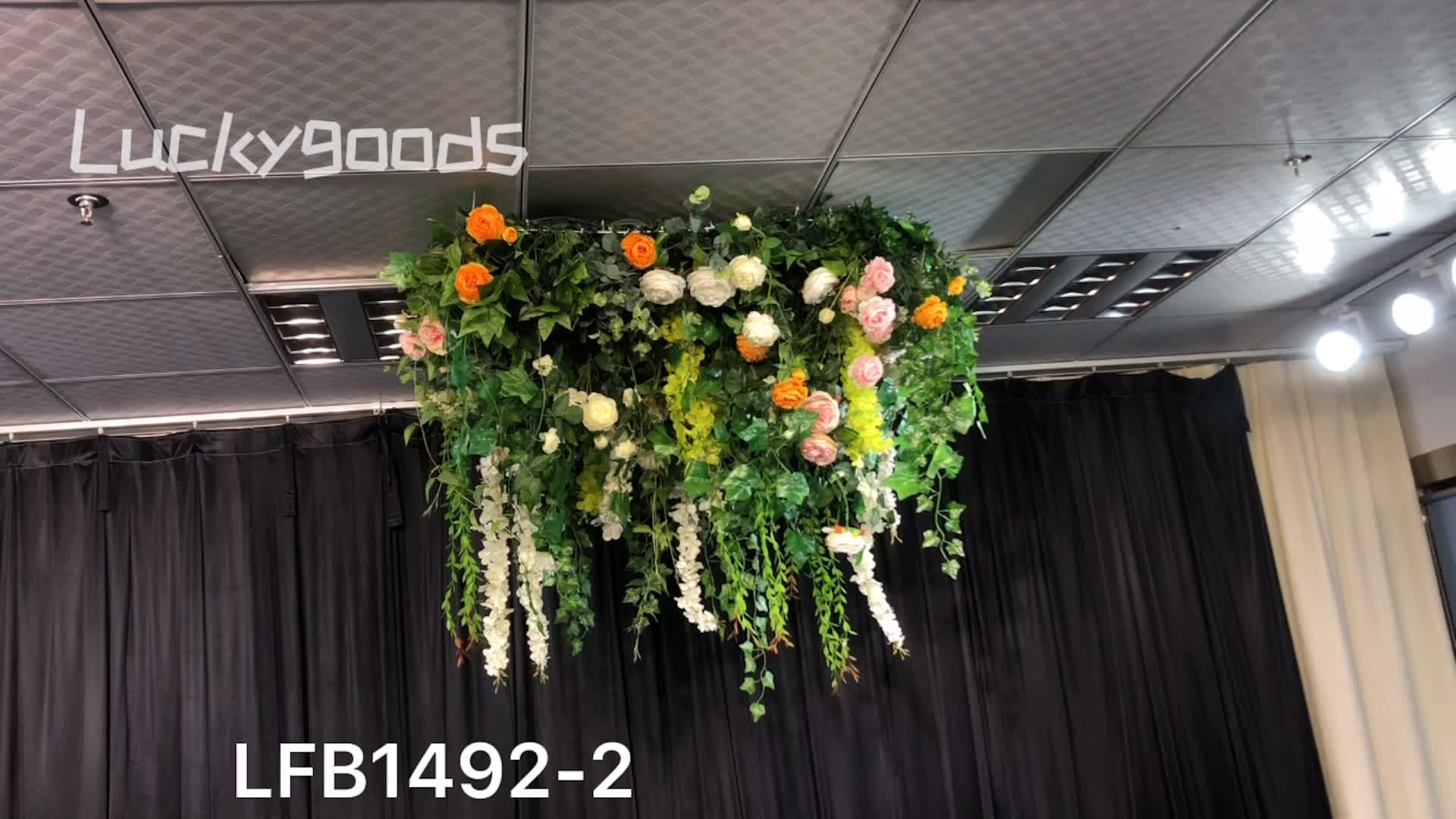 LFB1492-2 Wedding hanging artificial  greenery panels with steel net  for ceiling decoration