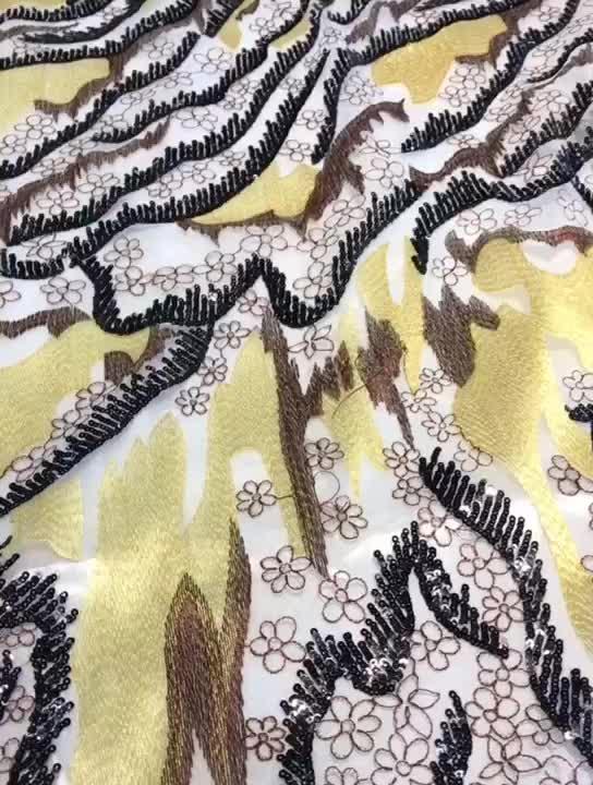 Têxteis Hot personalizado bordado poliéster branco tecido de renda química