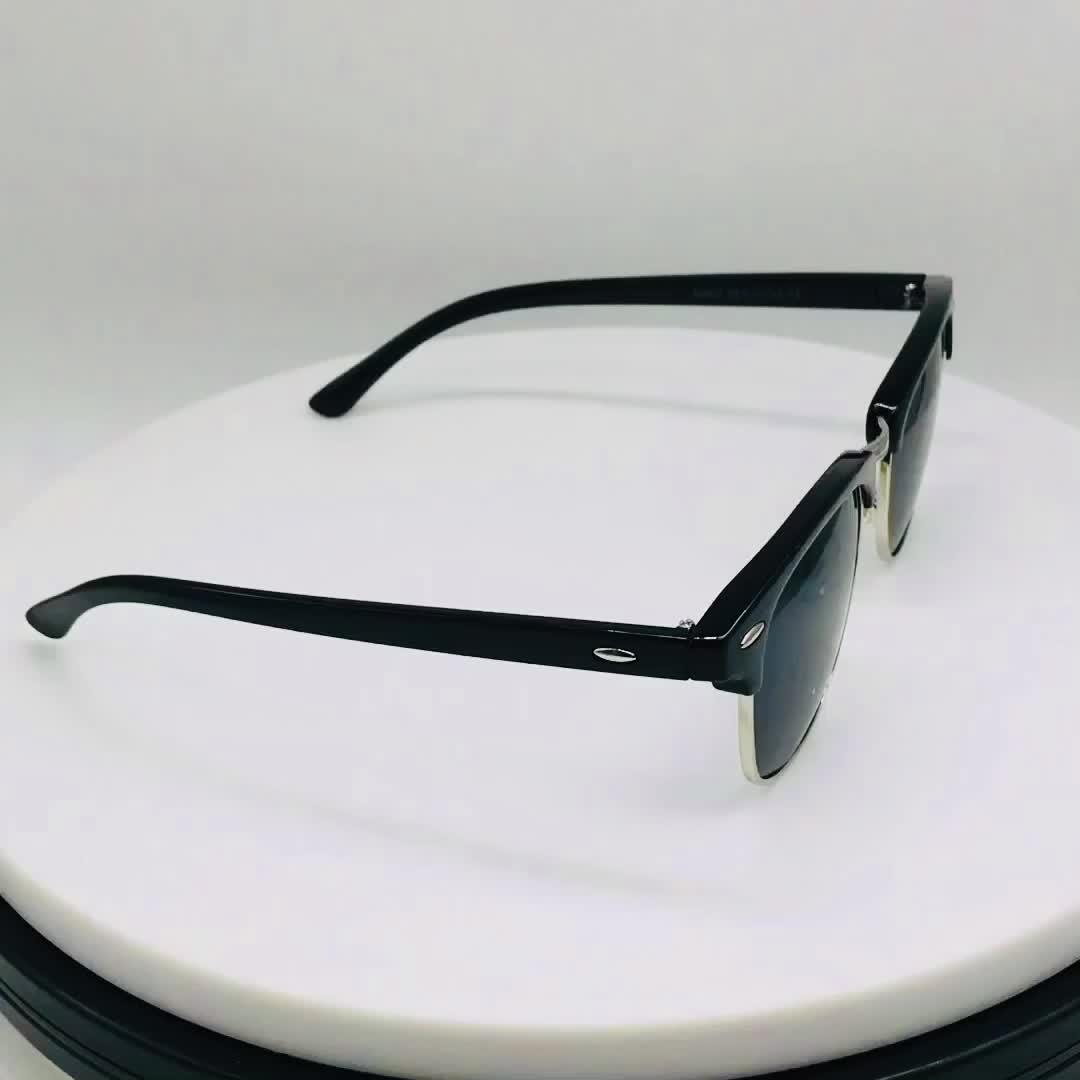 브랜드 클래식 디자인 패션 유니섹스 하프 무테 리벳 선글라스 여성 남성 선글라스 반사 미러 렌즈 맞춤 안경