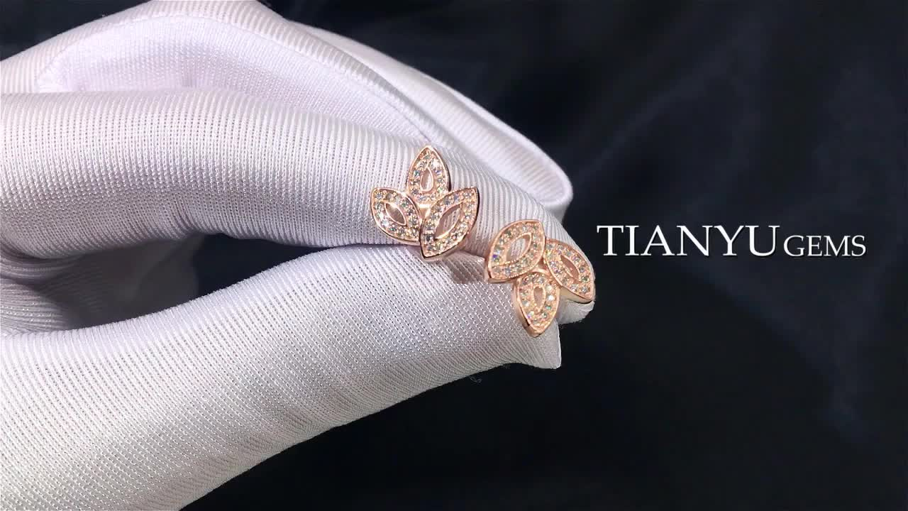 Tianyu gems fashion jewelry 925 sterling silver rose gold plated moissanite diamond earring set for women