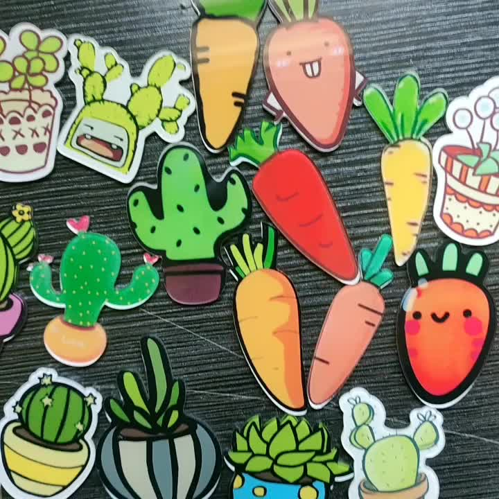 Custom Acrylic Cactus Brooch Children Cartoon Carrot Pin Badge Kid Botany Plants Mobile Phone Case Patch