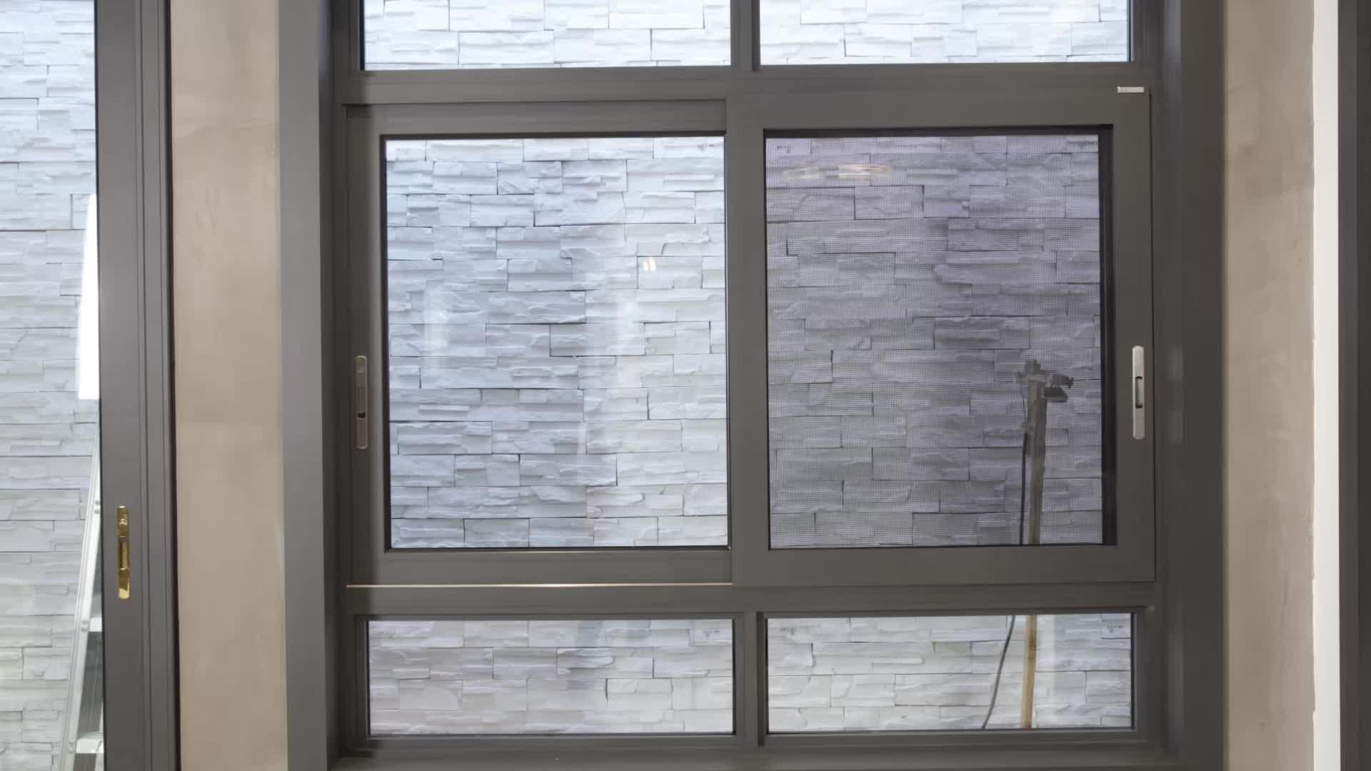 Bungalow villa W88 hidden security circular aluminum louvered anti theft tinted glass sliding window