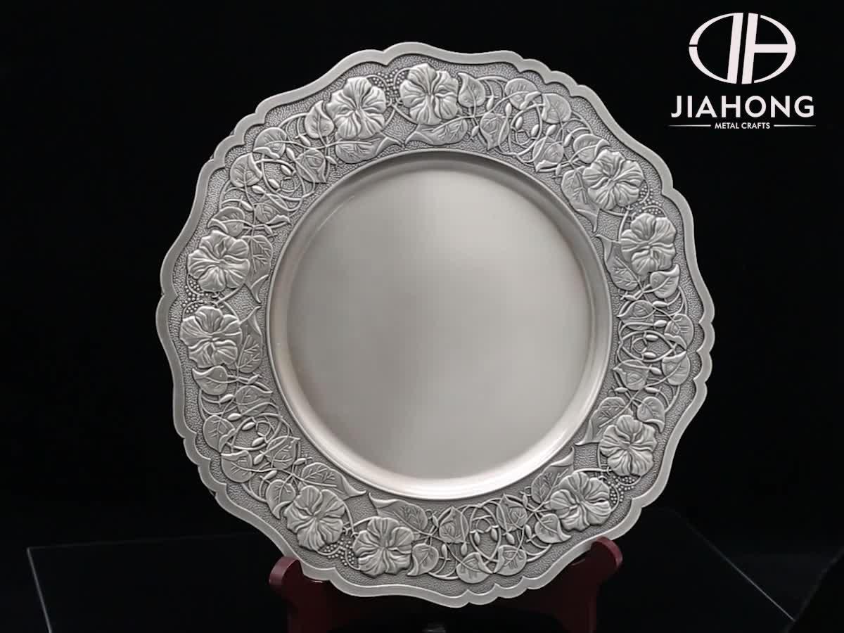 custom big new design printed shiny silver metal souvenir plate