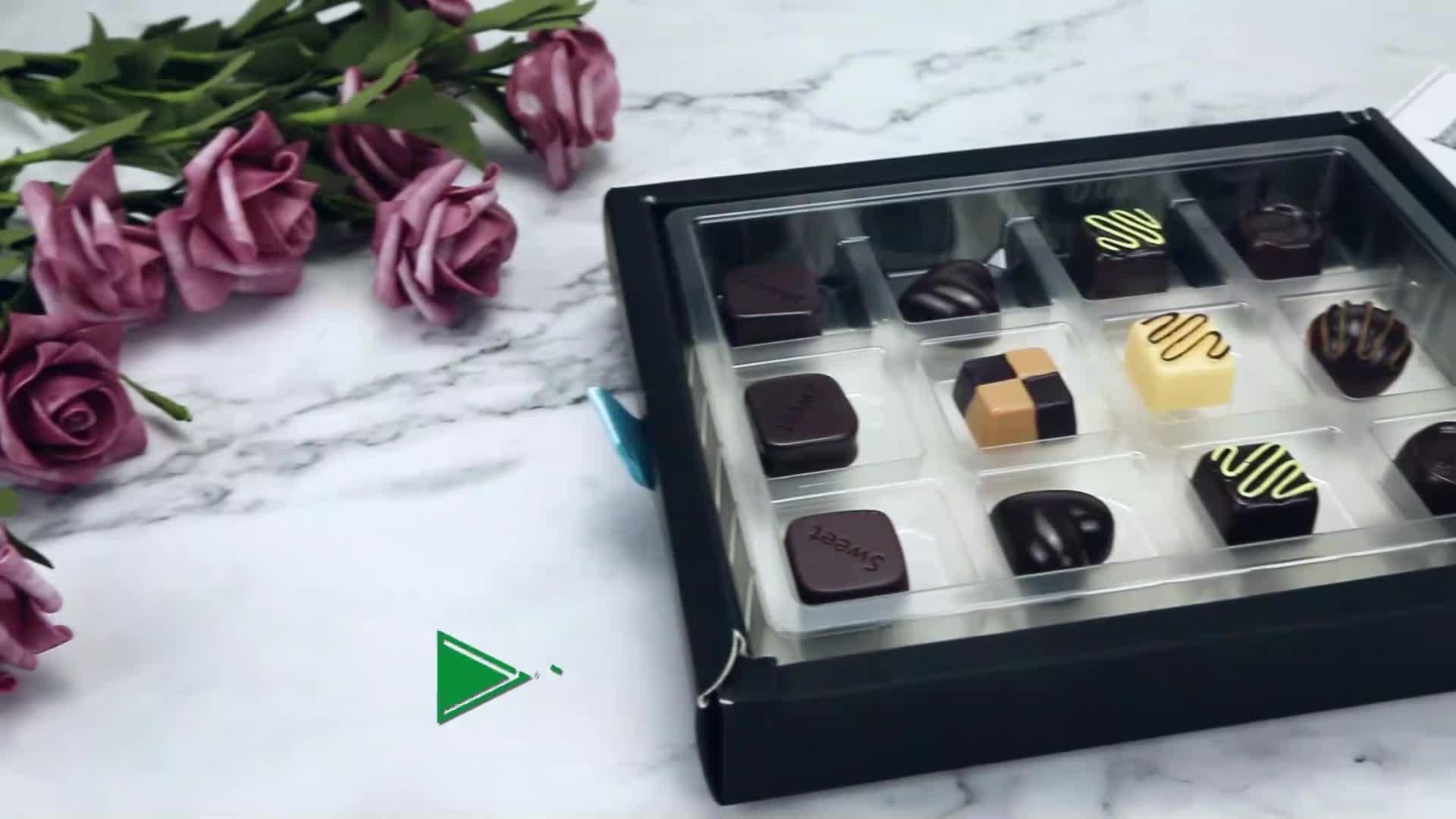 Descartáveis De Plástico PET Embalagem de Chocolate Bandejas Bandeja de Blister De Chocolate transparente