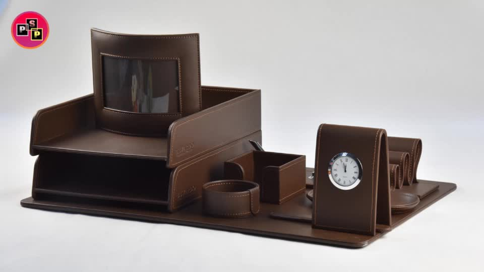 handmade cheap black faux leather desk organizer with drawers and storage divider for office desktop organiser