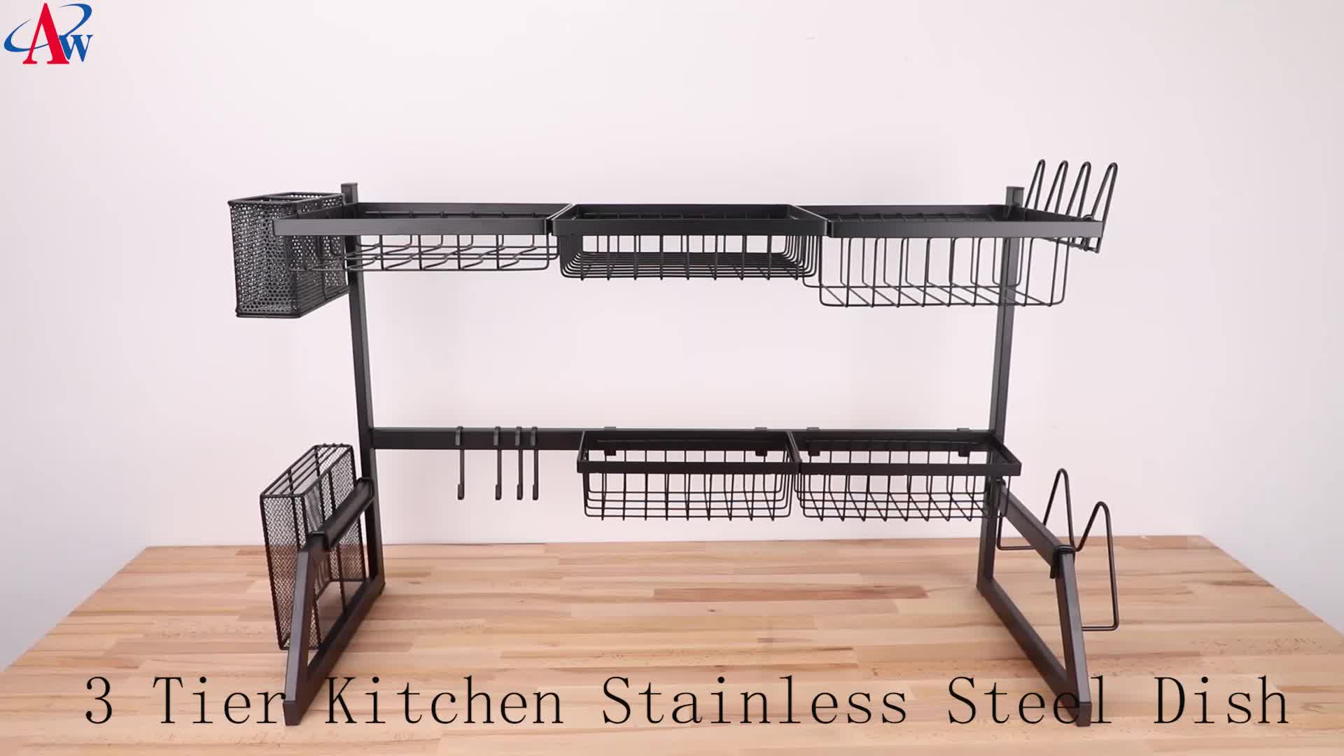 De cuisine à 3 niveaux en acier inoxydable plat séchage au-dessus du lavabo égouttoir à vaisselle