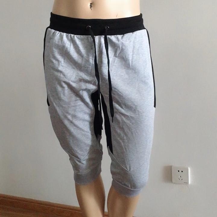 Men Cargo Short Pants Ball Sport Joggers Plain Half Trousers Male Zipper Pants