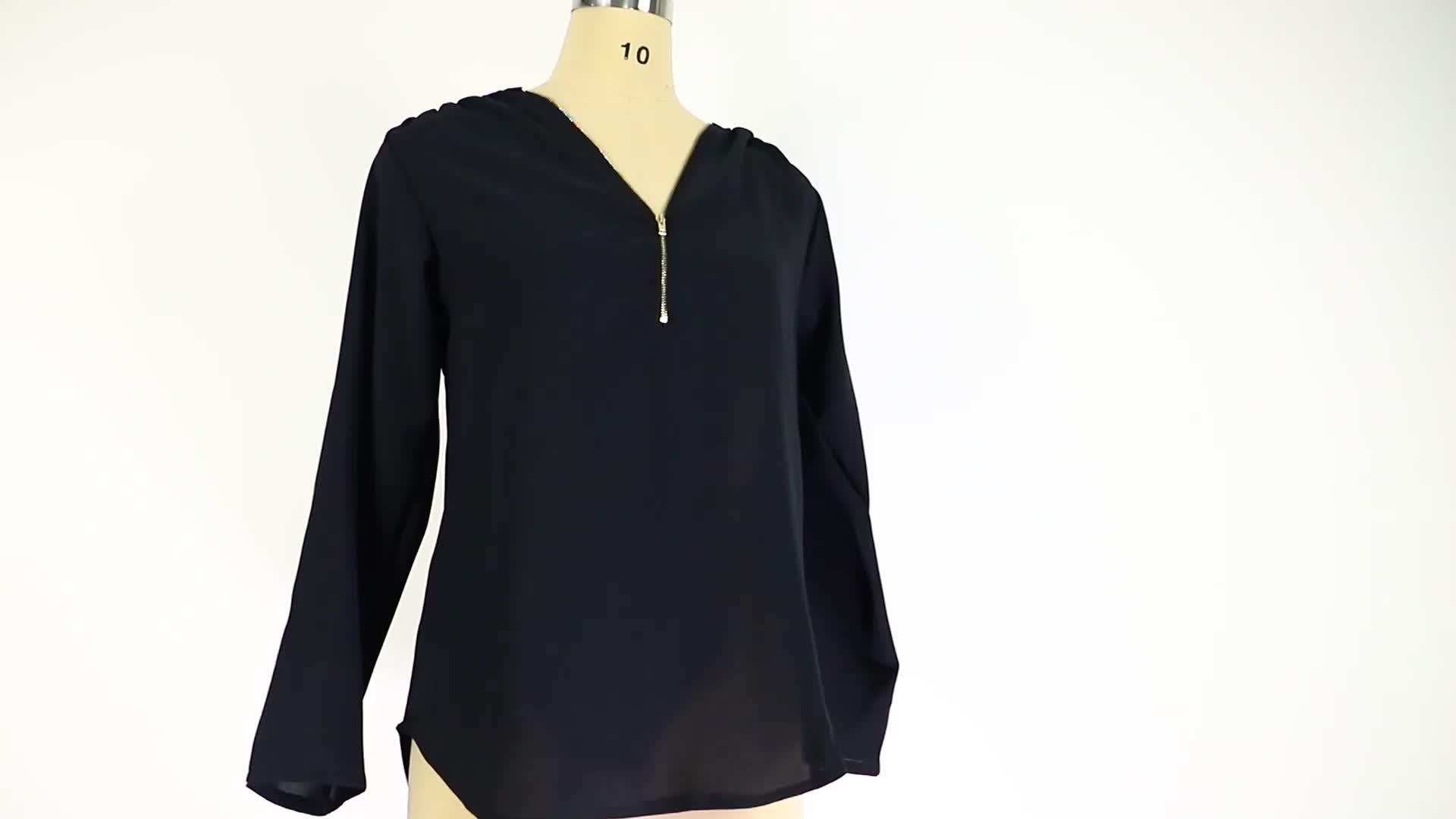 2019 Wanita Atasan 17 Warna Plus Ukuran V-Leher Lengan Panjang Chiffon Elegan Desain Wanita Blus Wanita Kemeja Blus untuk Wanita