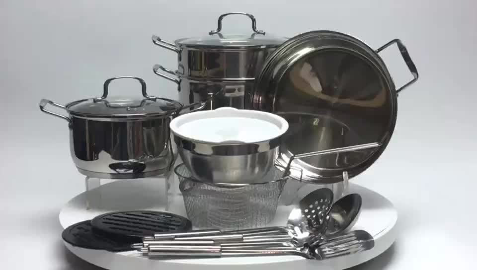 Even heat distribution stainless steel cookware with aluminum core MSF-8181