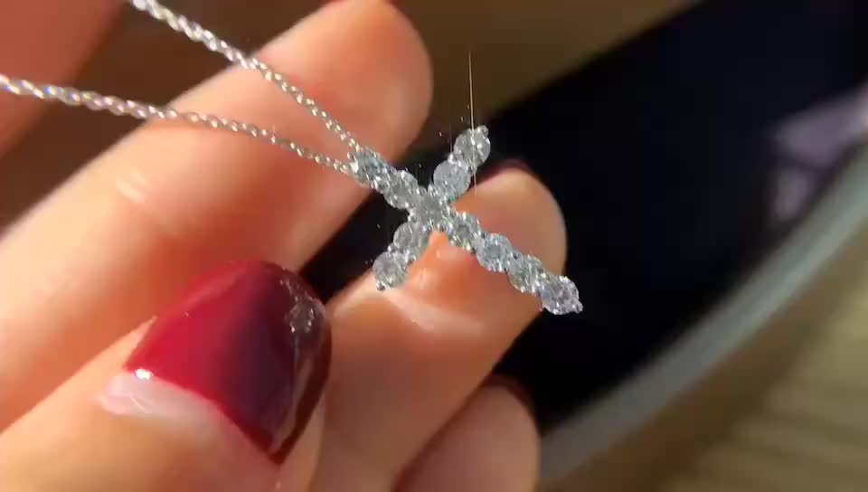 14K Solid Gold Real Diamond Paving Cross Pendant Gold Necklace for Women