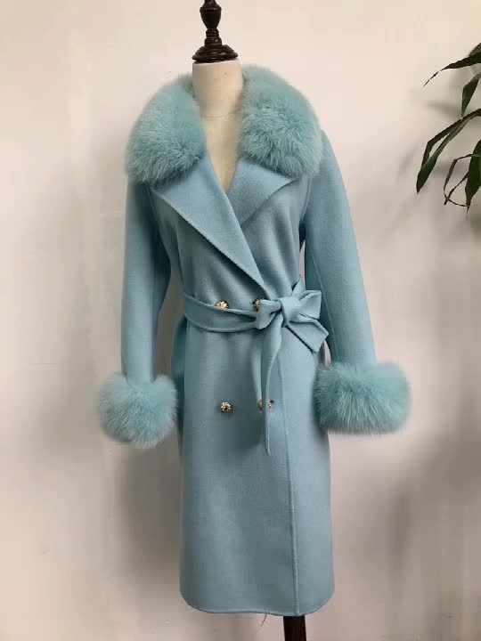 Latest Fashionable Winter Women  Double Face Cashmere Wool Jacket Long Coat with Belt