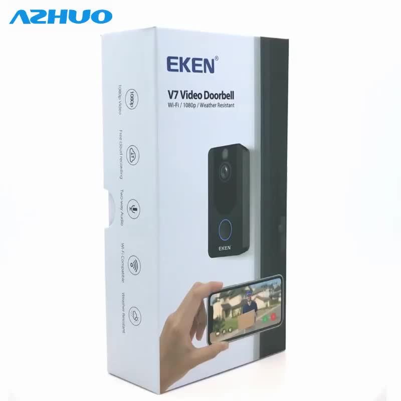 ต้นฉบับ EKEN V7 HD 1080 จุดสมาร์ท WiFi วิดีโอออดกล้องอินเตอร์คอม Night vision IR กระดิ่งประตูกล้องรักษาความปลอดภัยแบบไร้สาย