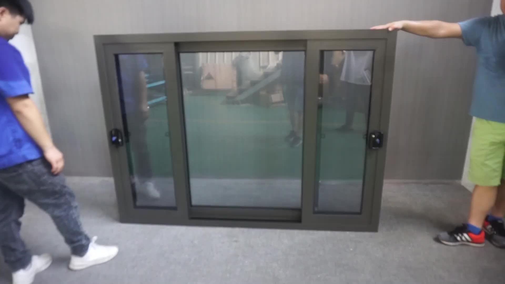 NZS4211 Customized Size Modern Australian Standard Aluminum Frame Double Glass Sliding Windows With Roto Lock