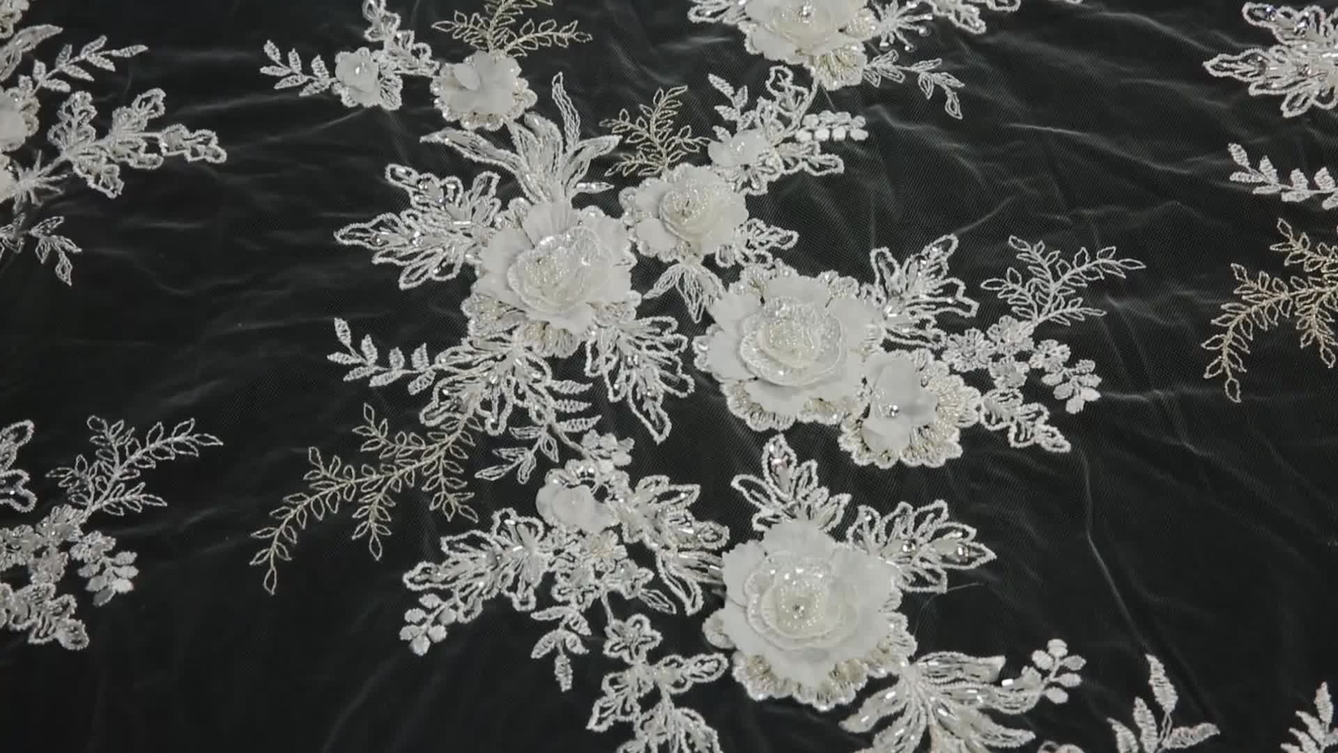 New Fashion OEM/ODM 3D Flower Lace Fabric
