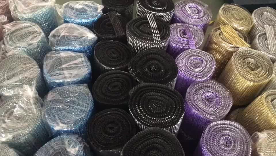 Full Colors Plastic Mesh Trimming Rolls Wholesale 4mm 24 Rows Crystal Sheet Roll without Glass Rhinestone for Bouquets