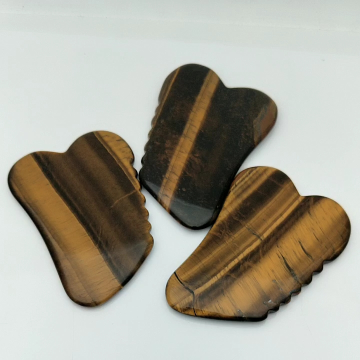 Heart Shaped Tiger Eye Stone Gua Sha Board with Jagges