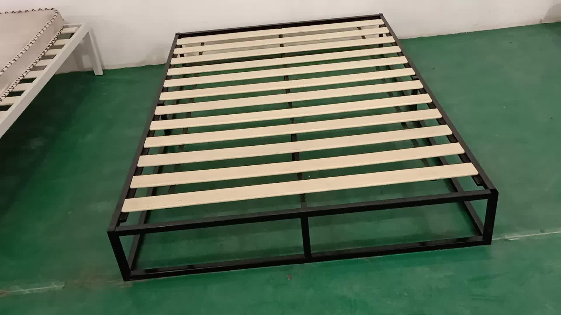 Modern Studio Platform Bed Frame / Mattress Foundation / Boxspring Optional / Wood slats support