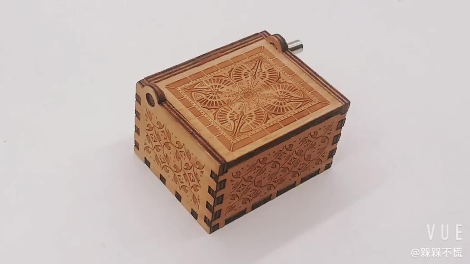 מותאם אישית עץ יד crank music box