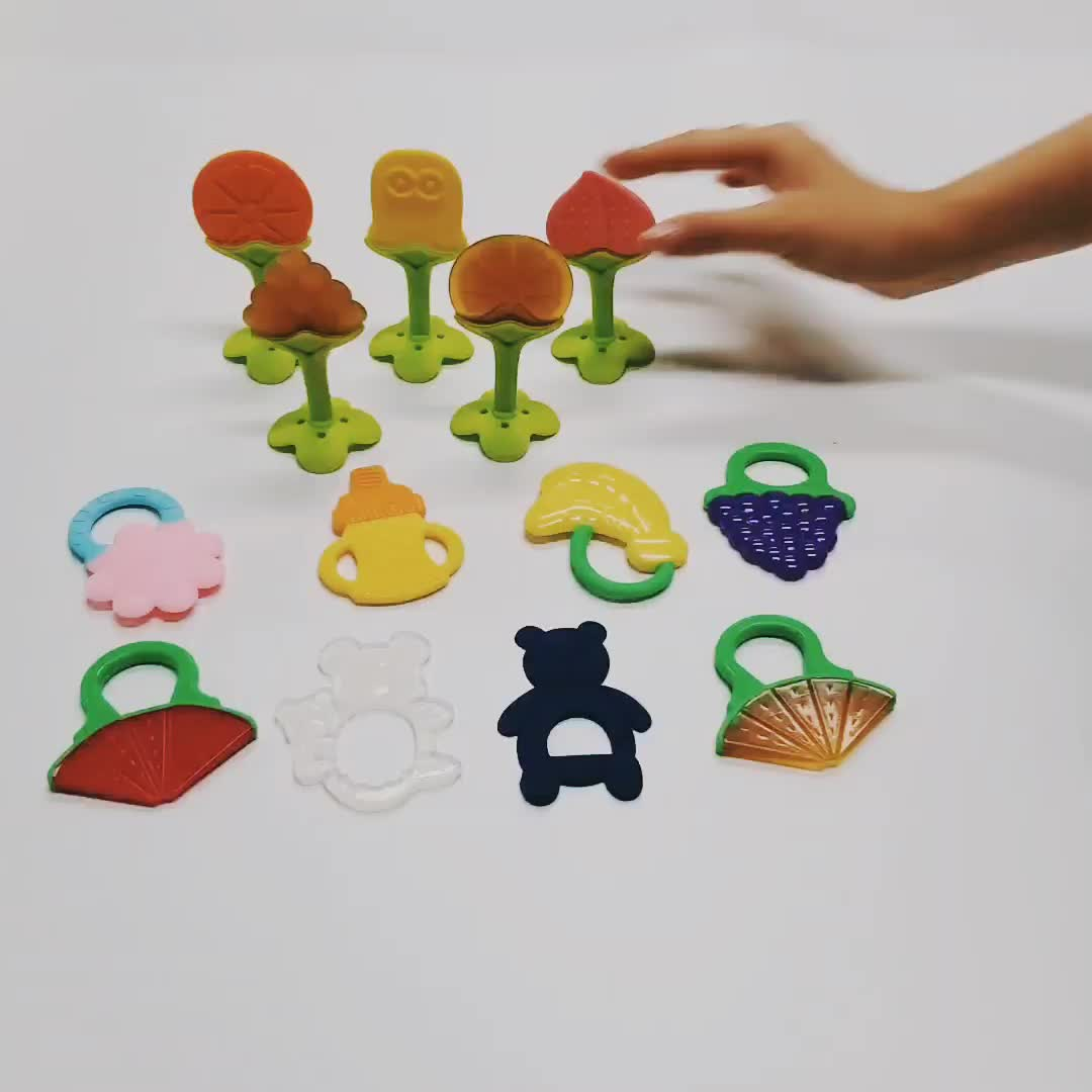 Customized BPA free fruit shape baby silicone teether