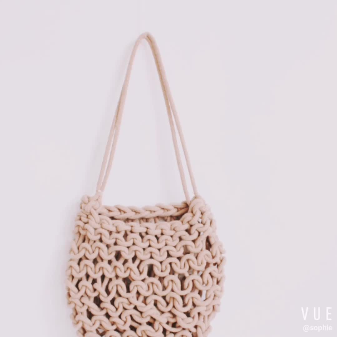 Black Coiled Rope Tote