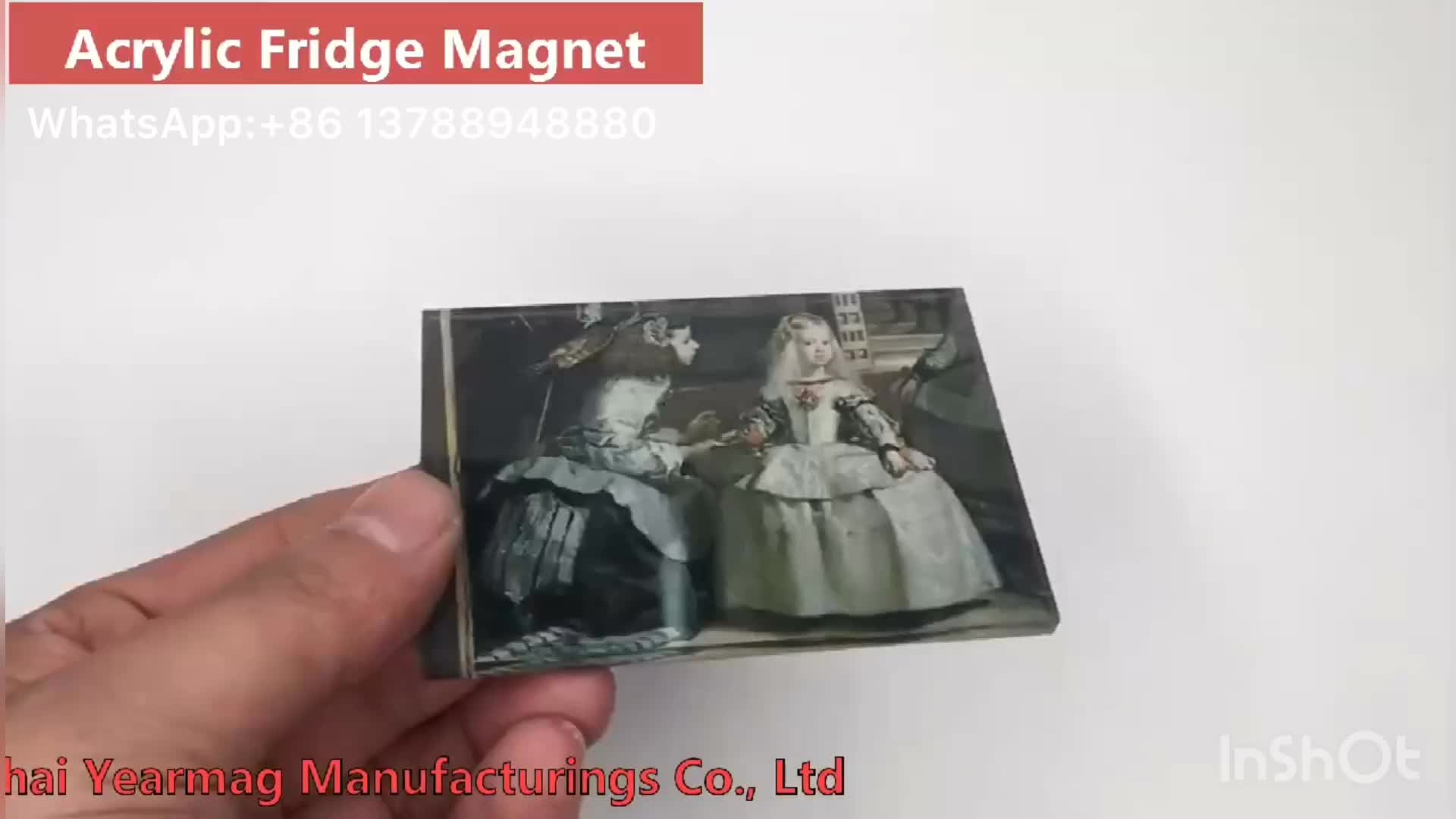 Custom made fridge magnet type acrylic photo frame on refrigerator