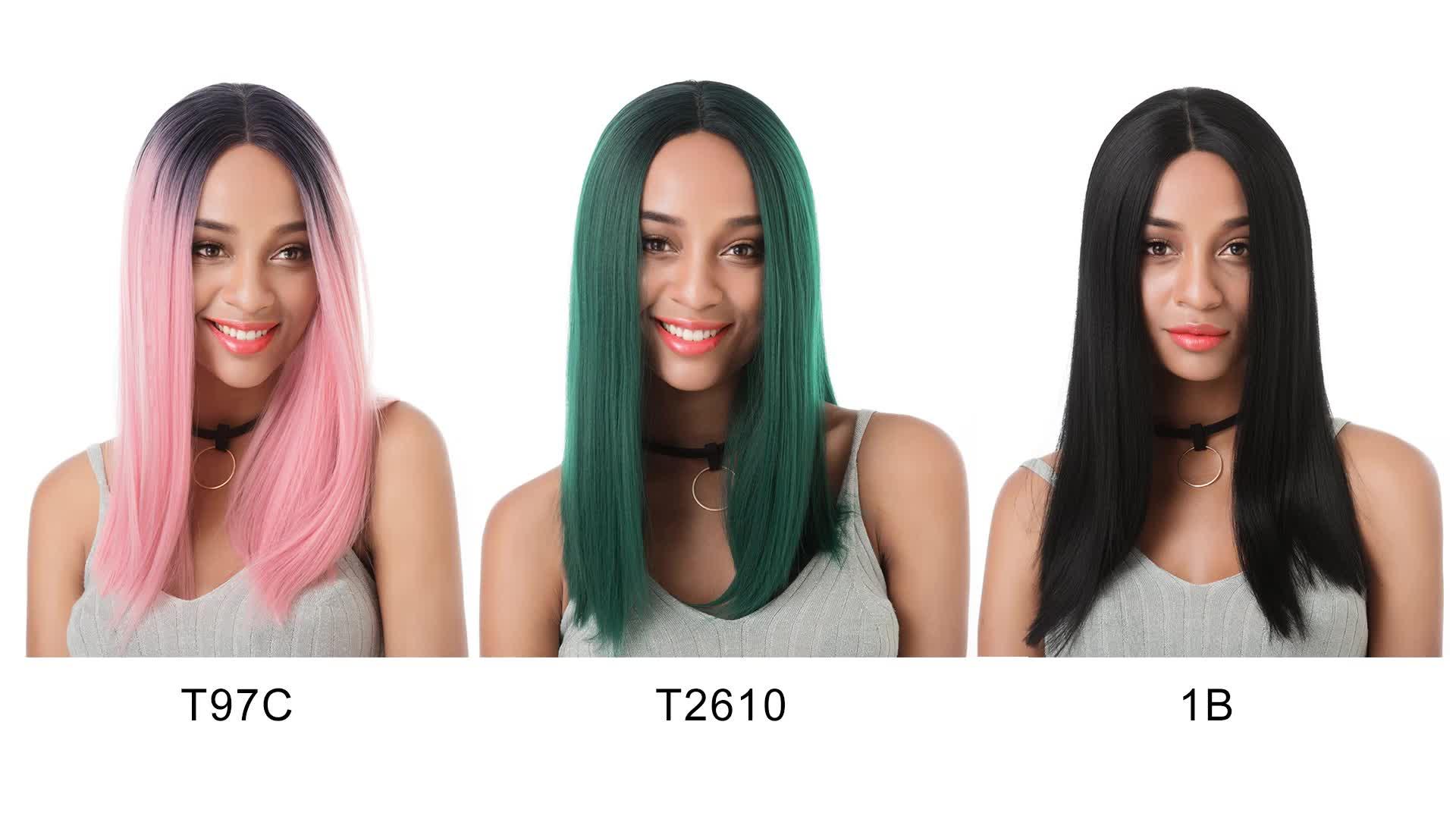 Japanese fiber heat resistant high temperature fiber ombre color T1b/pink lace front wig