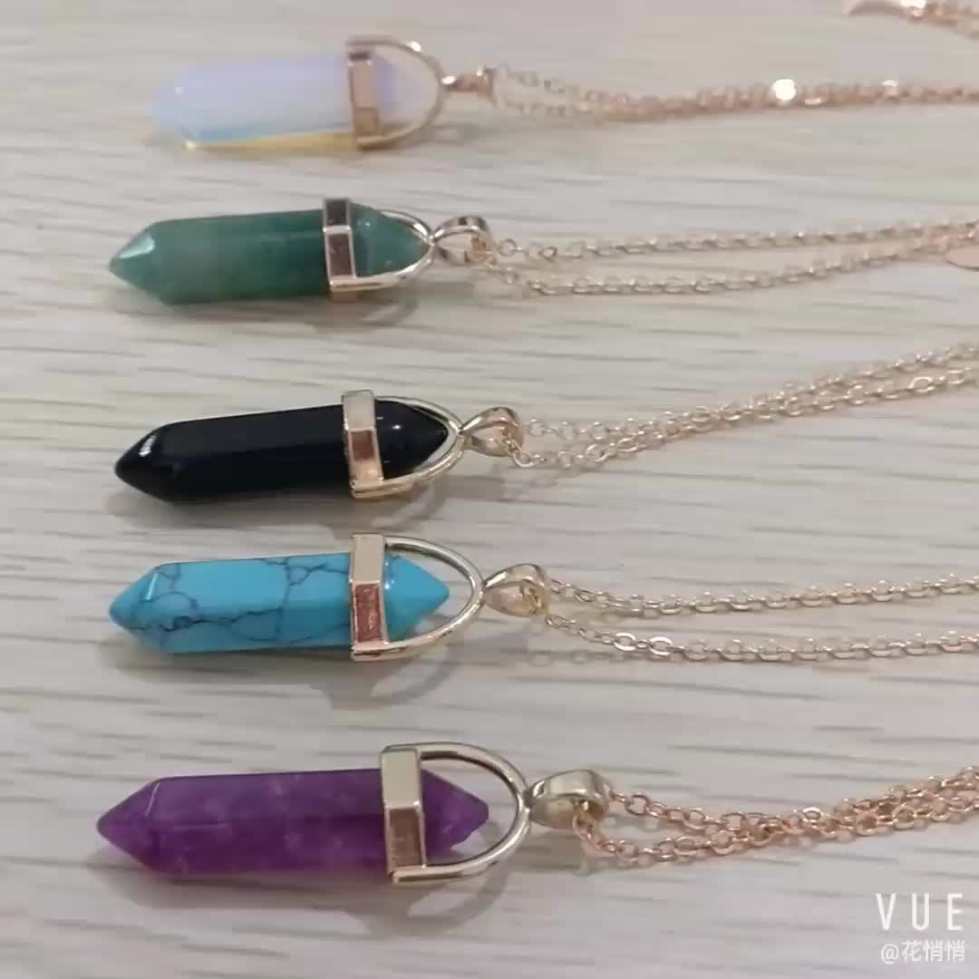 New Healing Point Moon Pendant Double Layer Necklaces Turquoise Crystal Stone Quartz Natural Stone Bullet Necklace