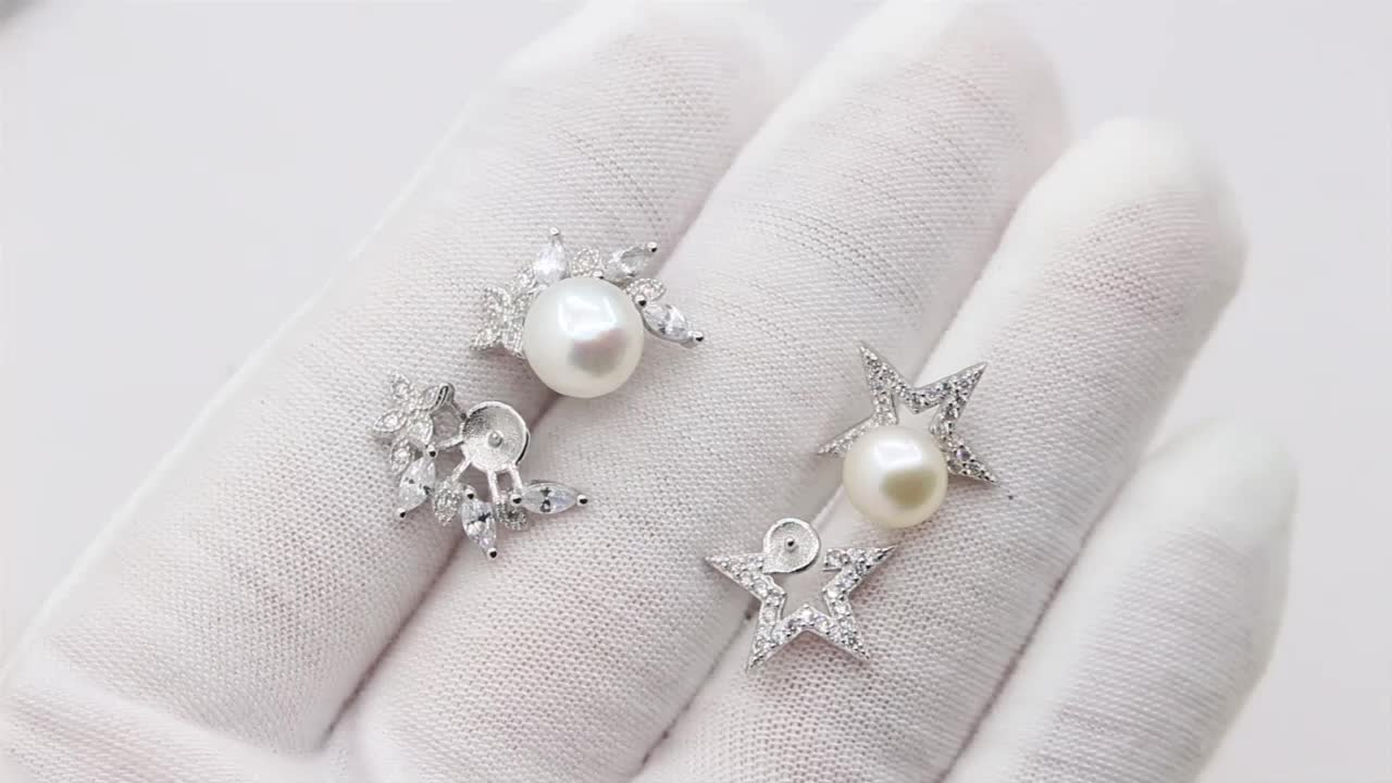 Wholesale 925 sterling silver accessory earring stud in flowers and star shape with cubic zirconia and pearl holder for jewelry