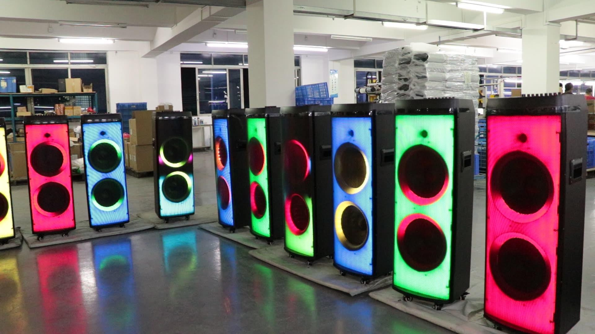 "12 ""* 2 Daya Tinggi Trolley Amplifier Karaoke Speaker dengan Led Flash Lampu"