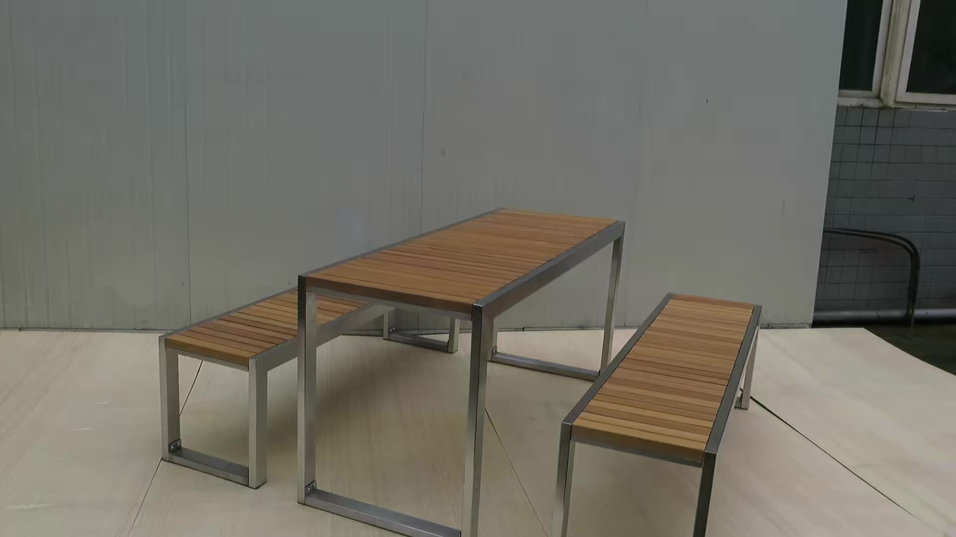 Outdoor dining Table Set with bench chair seat rectangle wood picnic table bench