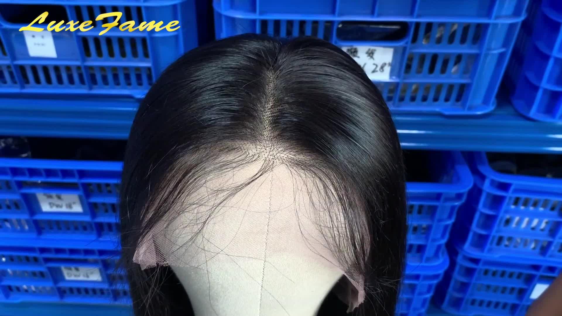 Luxefame Brezilyalı İnsan Saç Dantel ön peruk, Düz Bakire Saç Dantel Peruk Siyah Kadınlar Için, Önceden Koparıp dantel peruk bebek saç