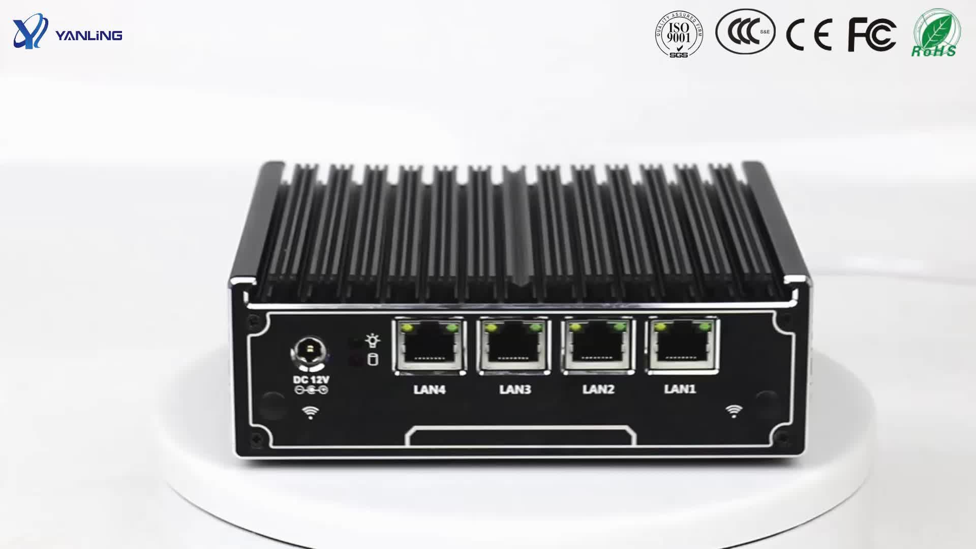 Yanling 卸売インテル J1900 クアッドコアミニ Pc の Linux Pfsnese サーバー 4 Lan ポートファンレスコンピュータと SIM スロット
