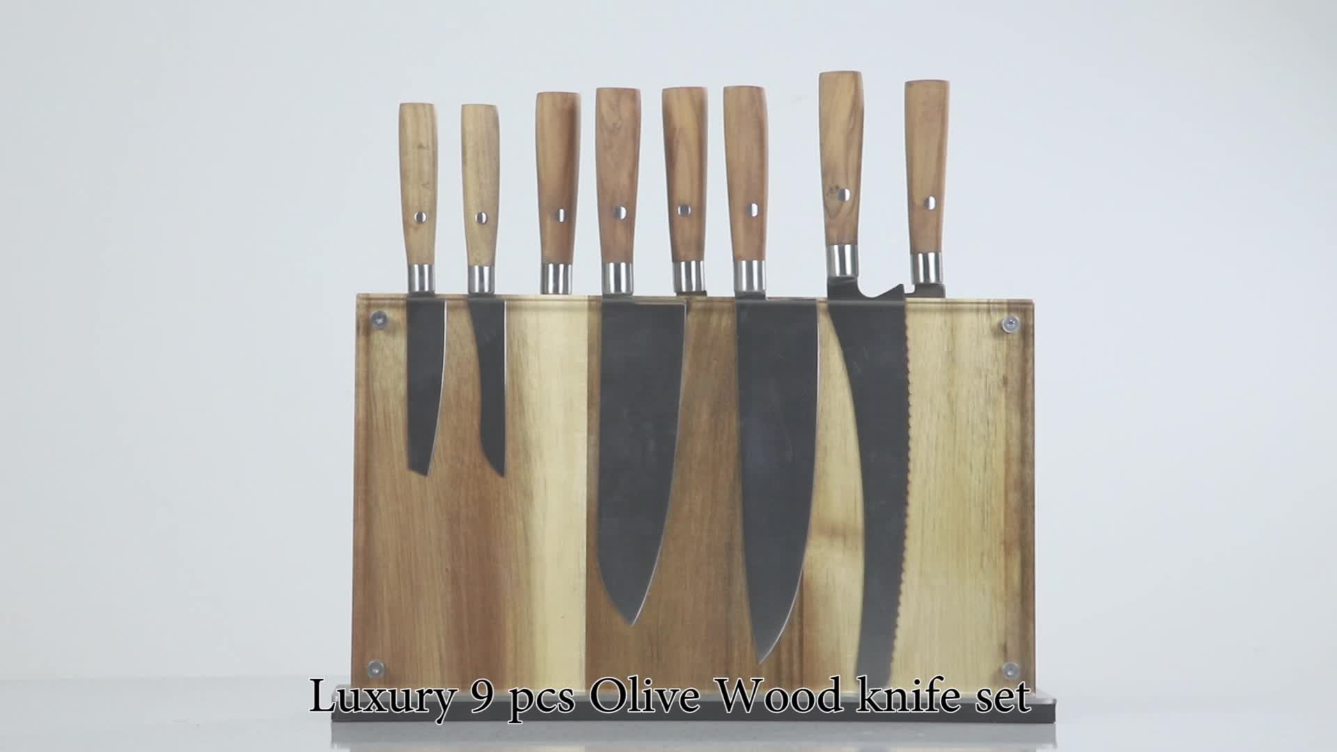 Professional Knives German 1.4116 High Carbon Stainless Steel 8 Piece Chef Kitchen Knife Set with Olive Wooden Handle