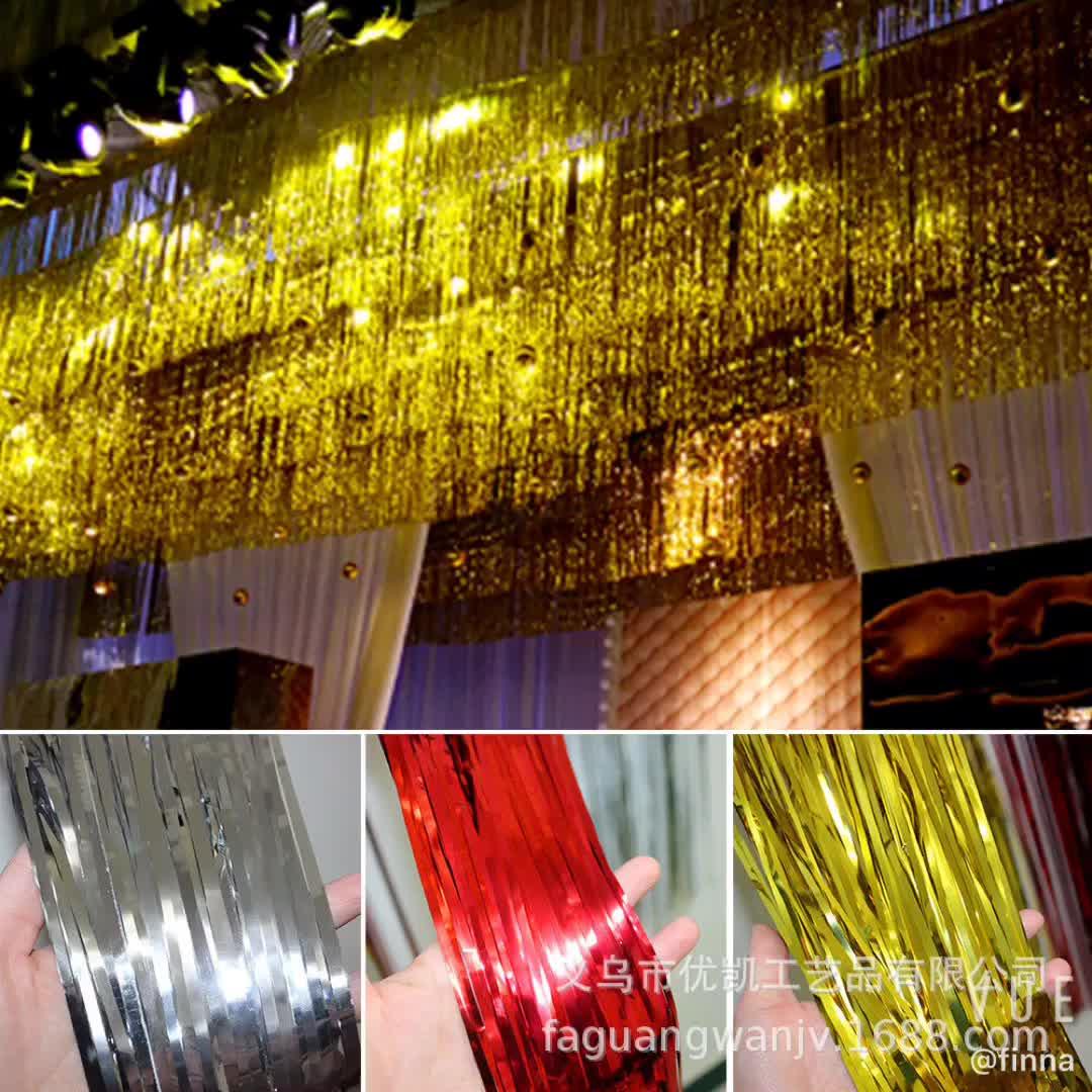 Logam Foil Tirai Merah Photo Booth Latar Belakang Hiasan Tirai untuk Ulang Tahun Pesta Pernikahan Dekorasi