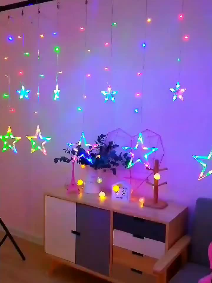 Twinkle Star 12 Stars 138 LED Curtain String Lights 8 Flashing Modes Decoration Christmas