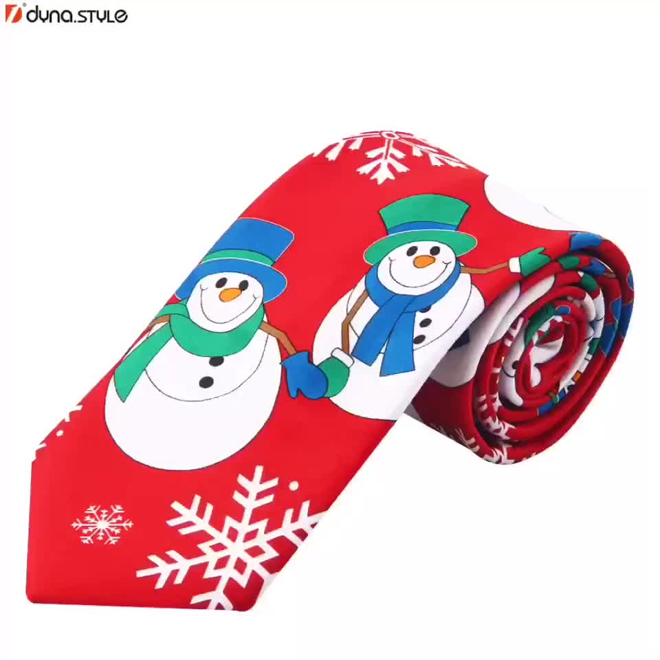 Wholesale Screen Printing Funny Christmas Tie Holiday necktie