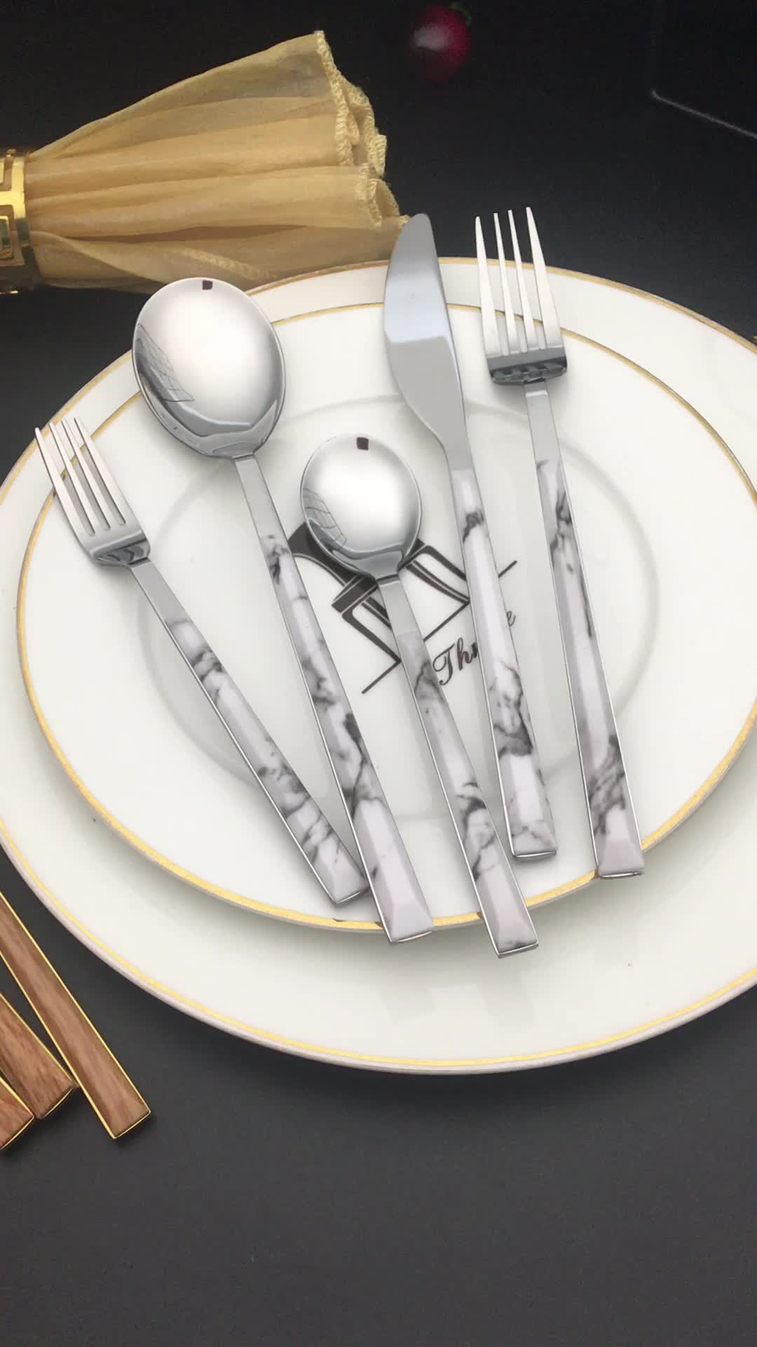 amazon top seller 2019 dinner set dinnerware sets dining table sets stainless steel tableware with wooden handle